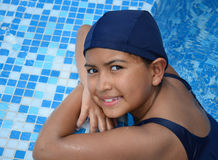 Girl in the swimming pool. Royalty Free Stock Images