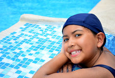 Girl in the swimming pool. Royalty Free Stock Photo