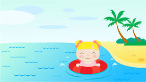 Girl swimming in the sea. Vector illustration Stock Photos