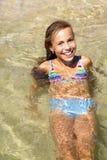 Girl swimming in sea Royalty Free Stock Image
