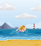 A girl swimming at the sea with a beacon at the back. Illustration of a girl swimming at the sea with a beacon at the back Royalty Free Stock Photography