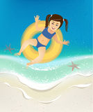 Girl swimming in the sea waves Royalty Free Stock Images