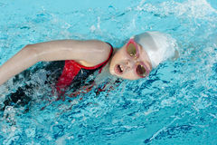 Girl swimming stroke or crawl in pool. Girl swimming stroke closeup in pool Stock Image