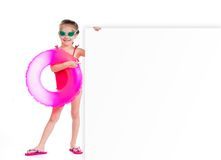 Girl in swimming suit with white banner Royalty Free Stock Photos