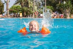Girl swimming in swimming pool Royalty Free Stock Photos