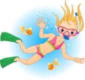 Girl  swimming under water Stock Photo