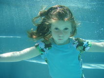 Girl swimming underwater. Girl swimming under water in a pool royalty free stock photography
