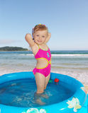 The girl swims Royalty Free Stock Image