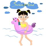 Girl swims with an inflatable unicorn vector image royalty free illustration