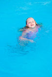 Girl swims in the pool. On a hot sunny day Stock Photo