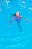Girl swims in the pool. On a hot sunny day Stock Photos