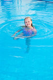 Girl swims in the pool. On a hot sunny day Royalty Free Stock Photos