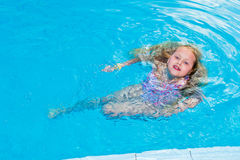 Girl swims in the pool Stock Image