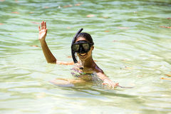 Girl swims in the sea. Snorkelling stock photos
