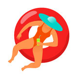 Girl swims in the sea. Young woman resting on floating red rubber ring on swimming pool water. Summer rest. Sea vacation. Web graphics, banners, brochures Stock Image