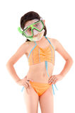 Girl in a swimsuit, beachwear, studio shot, scuba Royalty Free Stock Image
