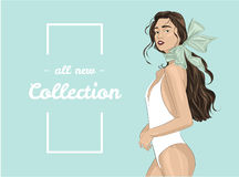 Girl in swimsuit - fashion illustration. Vector illustration of a woman in a swimsuit Royalty Free Stock Photo