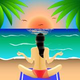 Girl in swimsuit in Lotus position rear view, engaged in yoga, meditation on the beach, at sunset or sunrise royalty free illustration