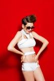 Girl swimsuit model sunglasses Stock Photo