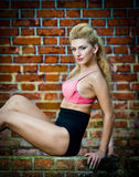 Girl in swimsuit posing provocatively in front of a brick wall Stock Photos