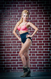 Girl in swimsuit posing provocatively in front of a brick wall Royalty Free Stock Images
