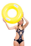 Girl in swimsuit with rubber ring Stock Images