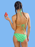 Girl in swimsuit with watermelon Stock Images