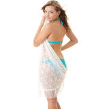 Girl in swimsuit with white scarf on wind. Stock Images