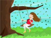Girl on Swing. Cute cartoon girl on a swing Stock Photos