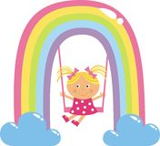Girl on a swing. A little girl swinging on a swing Stock Images