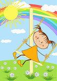 The girl on the swing. Royalty Free Stock Image