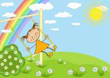 The girl on the swing. Vector illustration Stock Photos