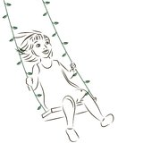 Girl on the swing Stock Images