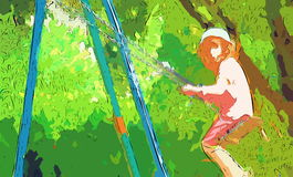 Girl on the swing Royalty Free Stock Image