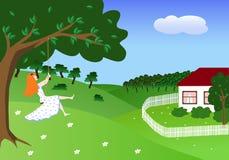 Girl on swing. Summer day, girl on swing, vector illustration Stock Photography