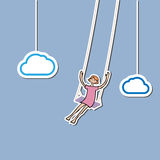 Girl swing in sky Stock Photography
