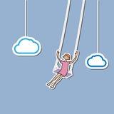 Girl swing in sky Stock Photography