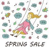 Girl on the swing. Spring sale. Illustration in doodle and cartoon style vector illustration