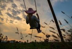 Girl on swing at sunset. Girl on swing - Young woman swinging at sunset Stock Images