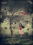 Girl on a swing in the woods. Llustration of a girl and  in the forest Stock Photos