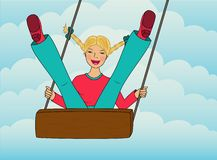The girl swinging in the clouds. Happy young girl swinging in the clouds Stock Image