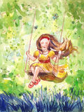 Girl swinging on a swing. Watercolor illustration. Hand drawn holiday background or poster Stock Photography