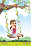 Girl swinging on a tree. A vector illustration of a cute little girl swinging on a tree Royalty Free Stock Image