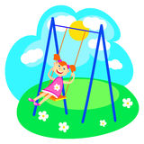 Girl and swings Royalty Free Stock Images