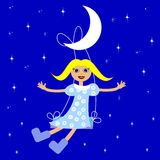 Girl on swings on a background star sky Royalty Free Stock Photos