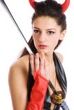 Girl with a sword Royalty Free Stock Photo