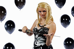 Girl with a sword Royalty Free Stock Photos