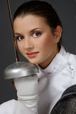 Girl with sword stock photos