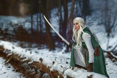 Girl with a sword in her hand stock image
