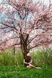 A girl and a sword under blooming cherry blossoms. stock photo